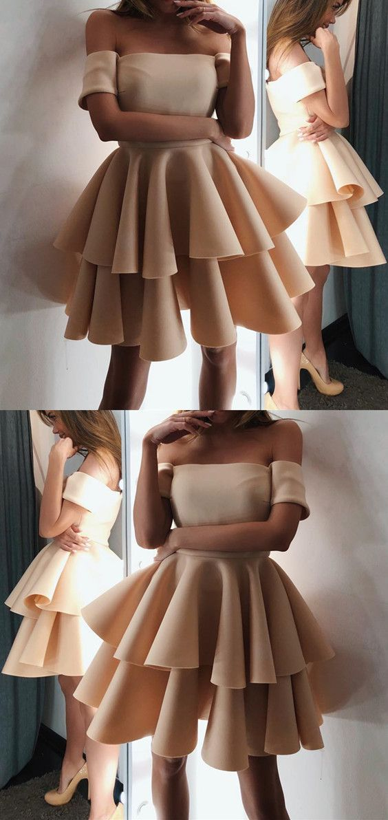 2aa70560760 Cute A-line Off The Shoulder Ruffles Homecoming Dresses Short Champagne  Prom Dresses 2018 For Birthday Party  cutepromdresses