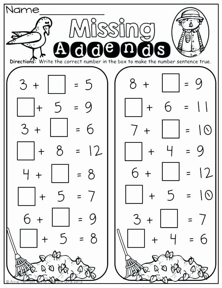 Missing Addend Worksheets Kindergarten Missing Number ...