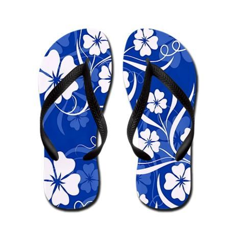 ed265e7ec700 SOLD 1 pair Hibiscus in Blue Flip Flops from my tropical theme shop ...
