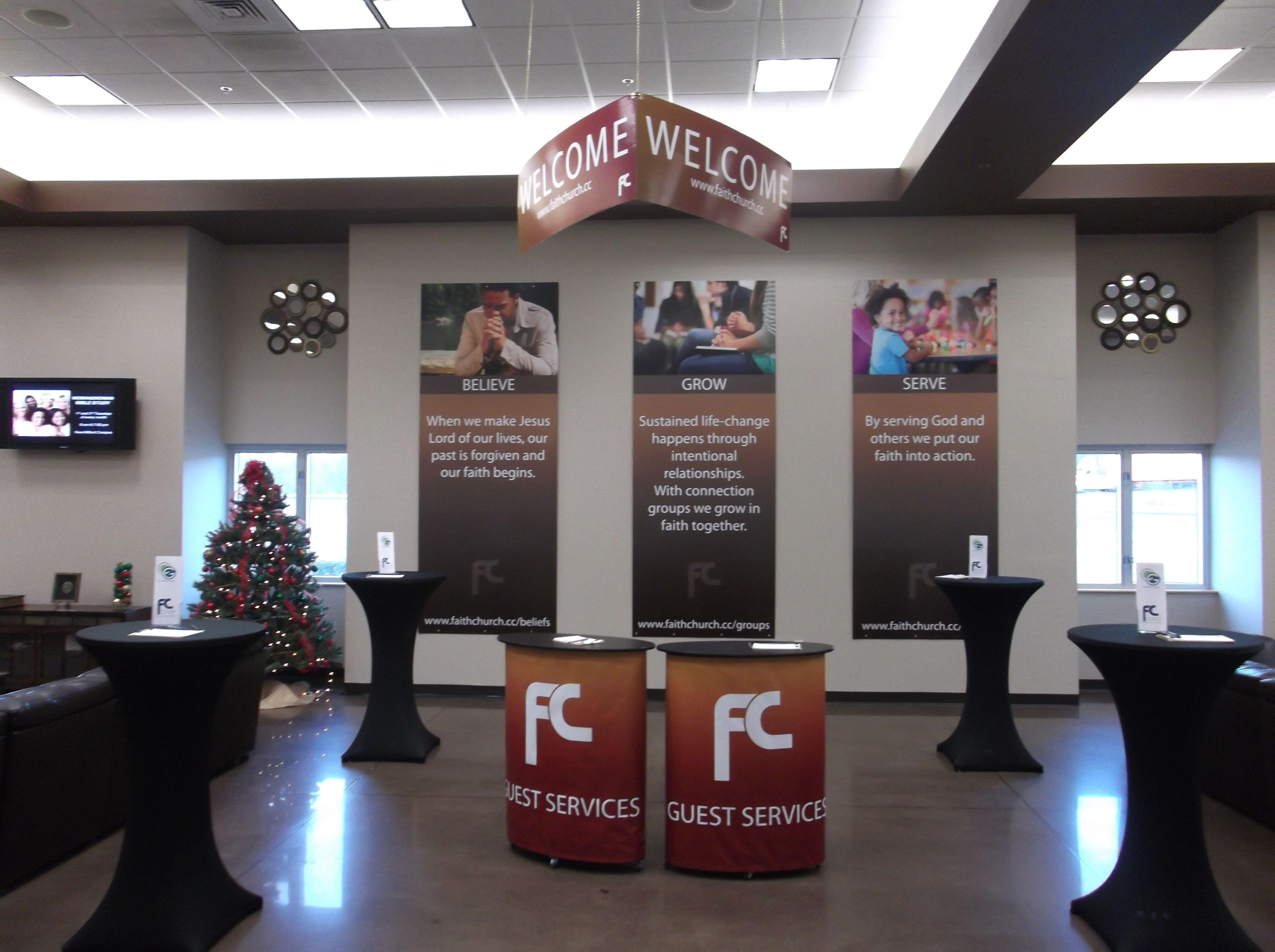 Foyer Interior Vision : Welcome center for faith church custom signs pinterest