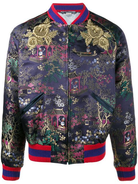 13c3955b6 Shop Gucci jacquard embroidered bomber jacket.