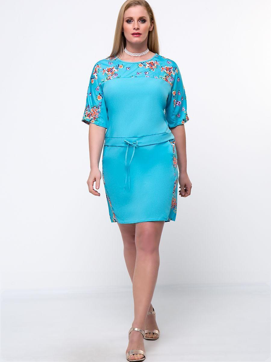 Fashionmia fashionmia drawstring floral printed round neck plus