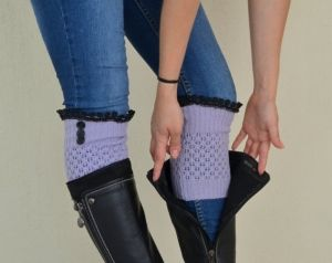 Lilac knit lace boot topper with lace and buttons boho boot socks lace cuffs women's accessory leg warmers back to school by berrin.saruhan