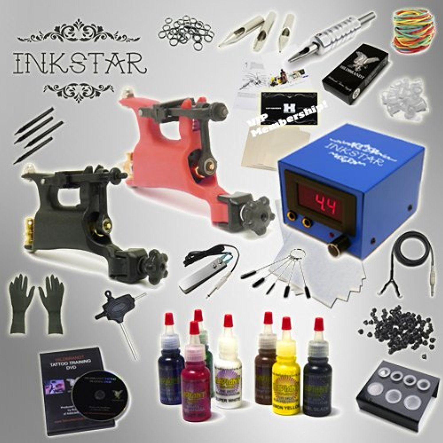 Complete Tattoo Kit Inkstar Journeyman Rotary Machine Gun Power ...