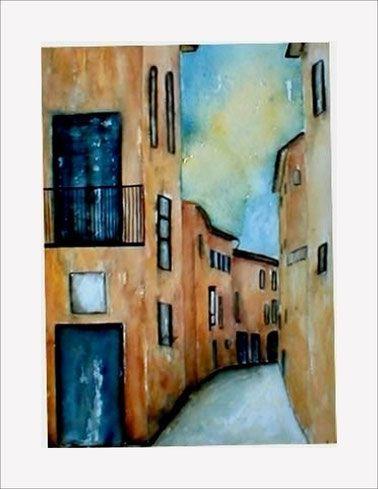 Aquarell, Landschaft, Landschaftsaquarell, Haus, Häuser, Gasse, Straße,  Blau,