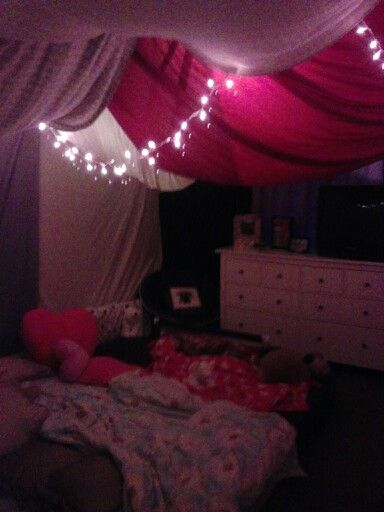 My daughters slumber party bedroom tent Birthday Party Ideas