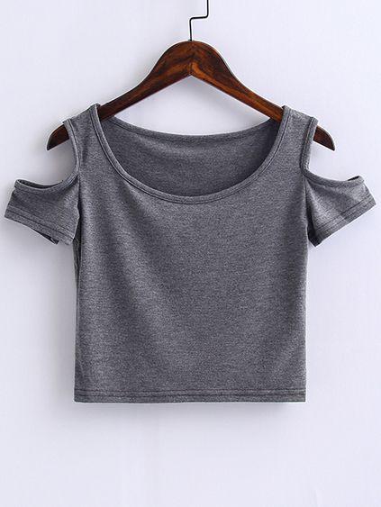 Top corto con hombros al aire - gris