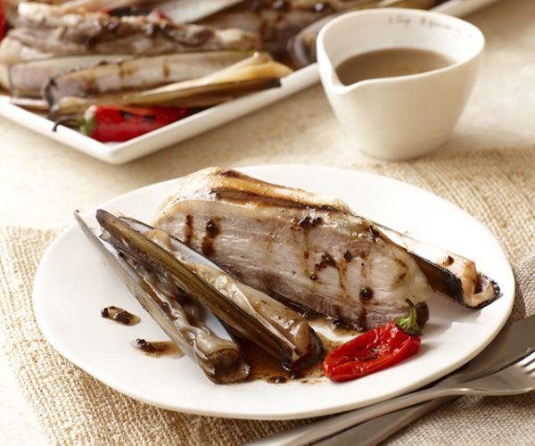Grilled Pork Belly with Razor Clams, Black Garlic ...