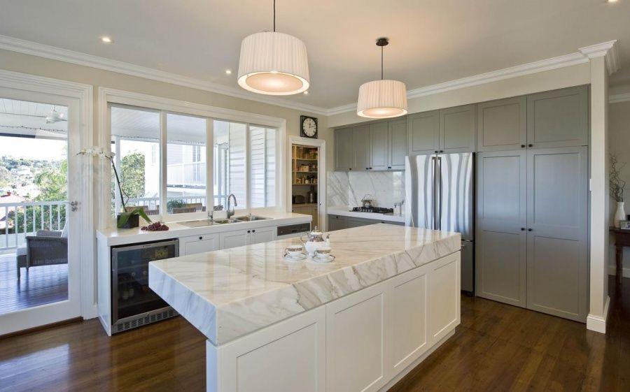 Kitchen Modern Kitchen With Glass Sliding Door Also Wooden