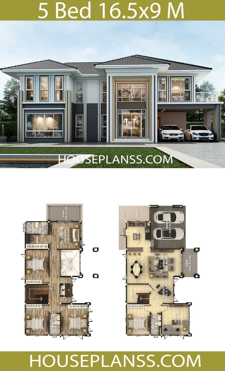House Plans Idea 16 5x9 With 5 Bedrooms House Plans 3d Two Story House Design Beautiful House Plans Model House Plan