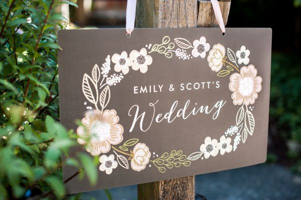 Minted's New Wedding Reception Decor Packages, botanical wreath theme, floral, welcome sign, wedding, chalkboard