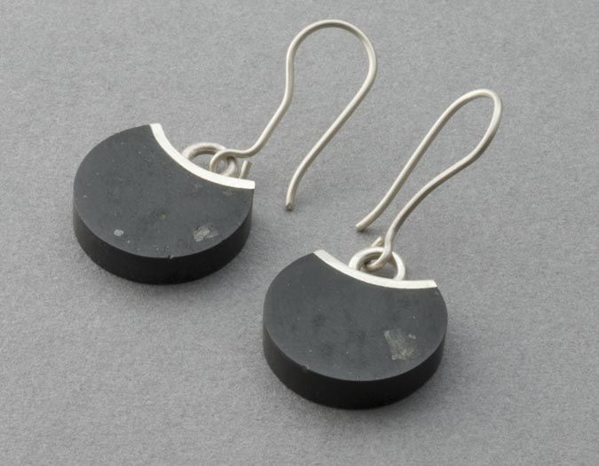 JL103  Bite earrings - basalt, stg silver  $230