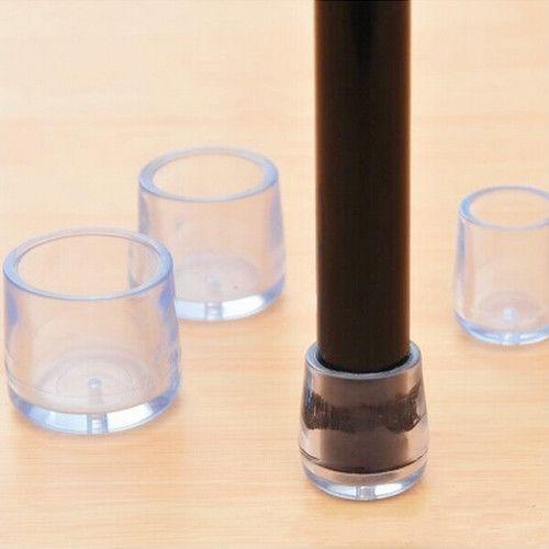 4pcs Transparent Rubber Table Chair Leg Cap Cover