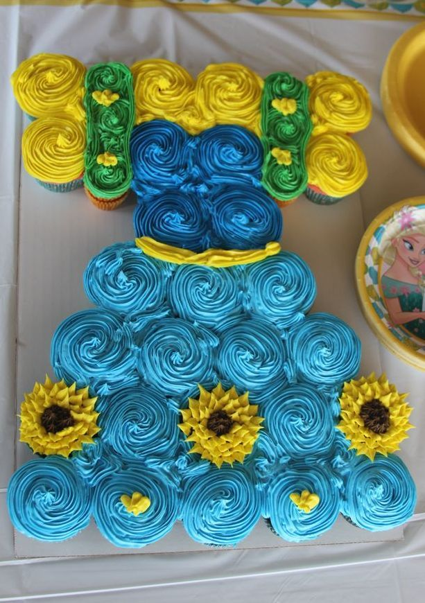 Cupcake cake Anna Frozen Fever Dress Frozen Birthday Party