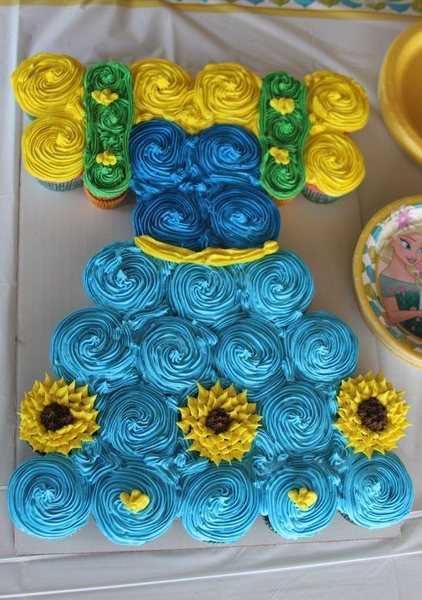 Cupcake cake Anna Frozen Fever Dress Birthday Pinterest