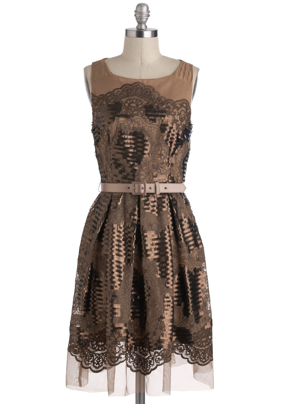 Fashionably Pixelated Dress by Eva Franco - Bronze, Lace, Party, A-line, Long, Sequins, Holiday Party, Sleeveless, Film Noir, Vintage Inspired, Luxe