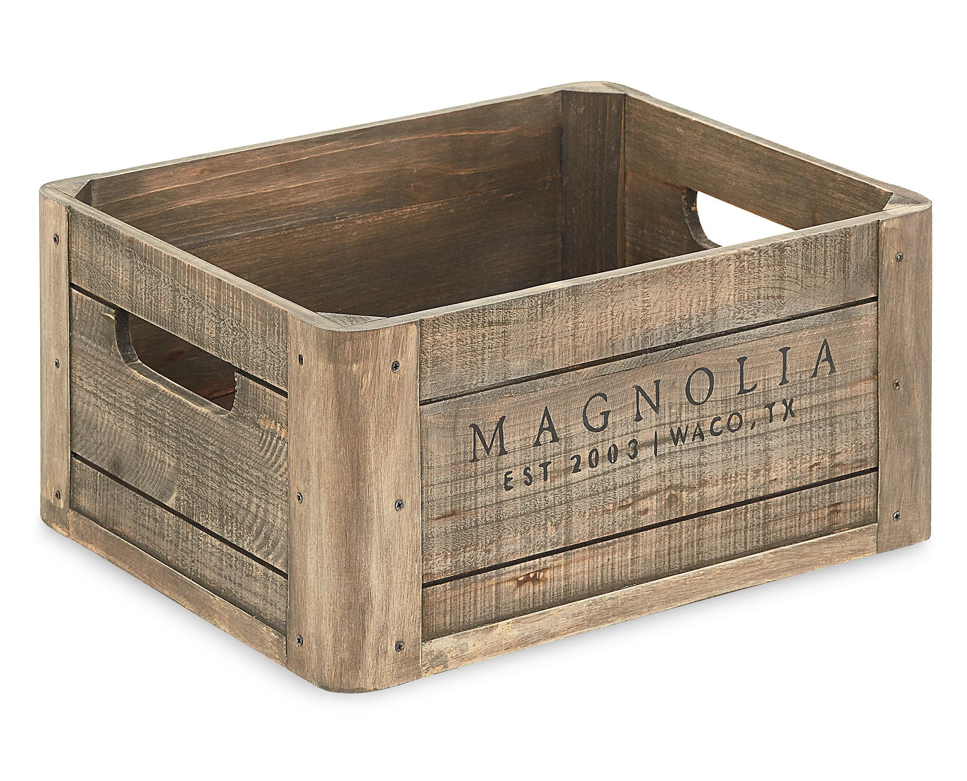 Magnolia Home Wood Crate Made Is Made From Weathered Pine With Cutout Slot Handles On Two Sides With An Authentic Repurpose Crates Wood Crates Crate Furniture