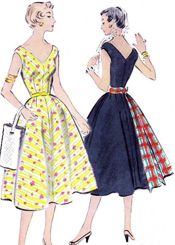 1950s Dress Pattern McCalls 9787 Full Skirt V NeckLine Figure ...