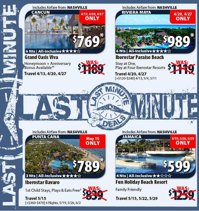 Last Minute Deals With Air From Nashville Vacation Packages - Last minute travel deals from atlanta