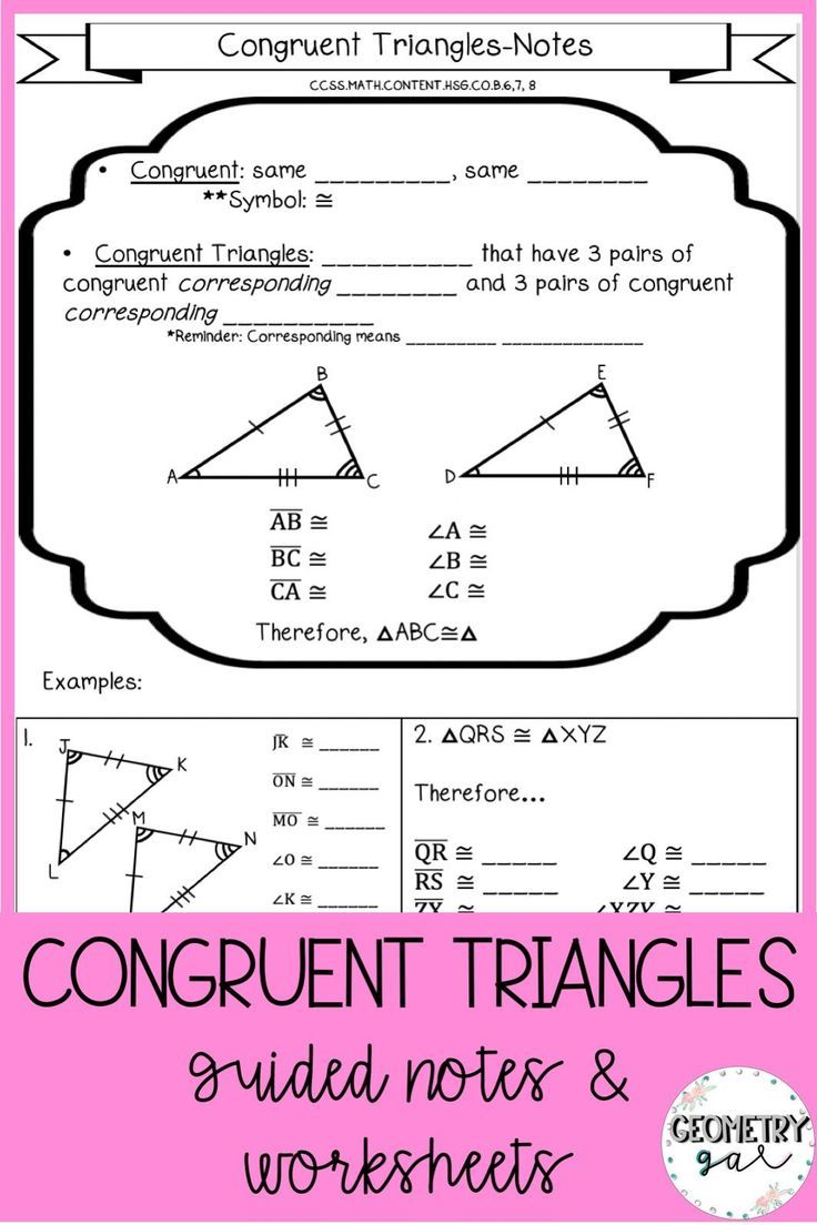 Congruent Triangles Notes and Worksheets | Geometry notes ...