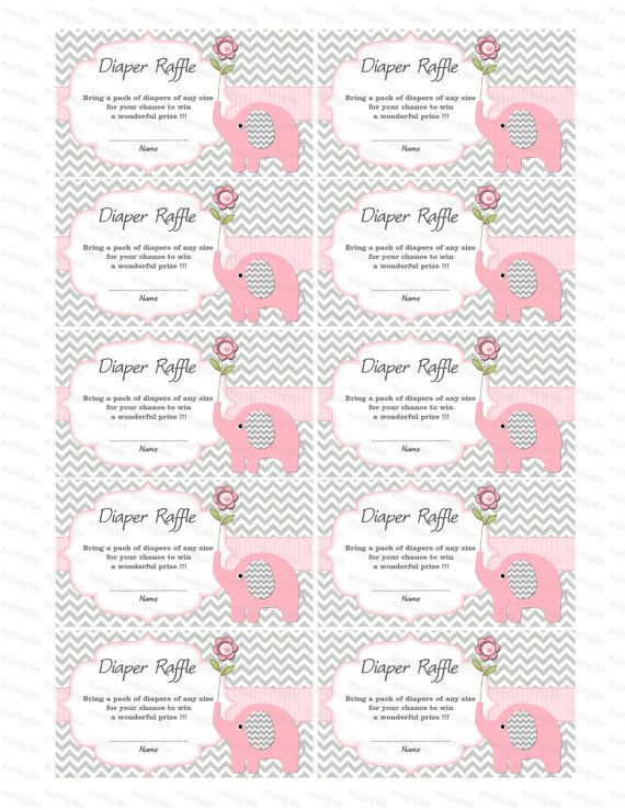 Baby Shower Games Elephant Baby Shower Diaper Raffle Ticket Diaper Raffle  Card Diapers Raffles Printable Digital Files (50lpp)