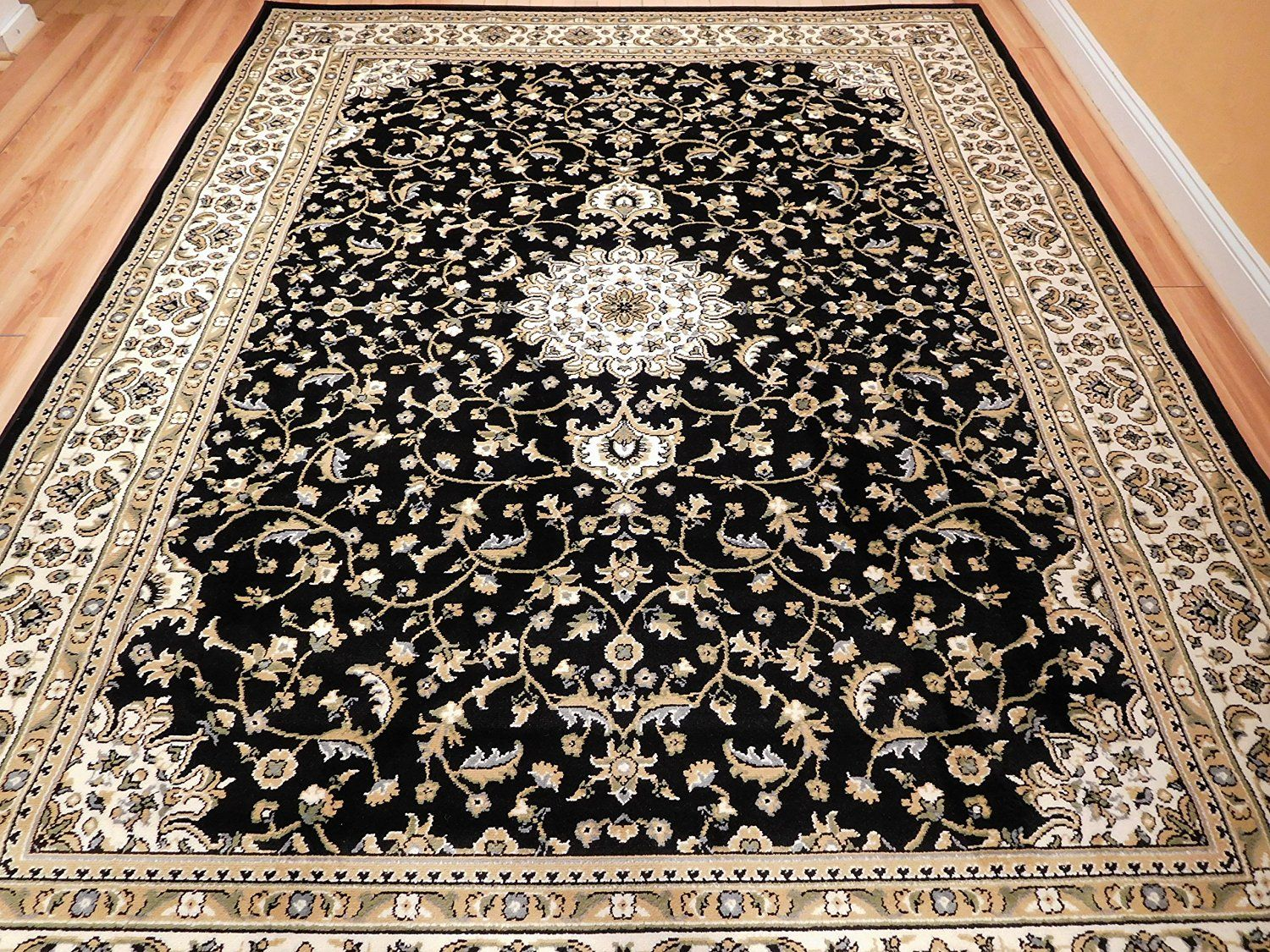 Amazon New Traditional Rugs Medallion 8x10 Area Clearance Black Cream Beige Green