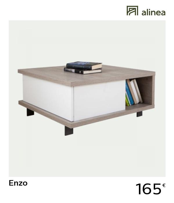Alinea Enzo Table Basse Avec Tiroir De Rangement Et Niche