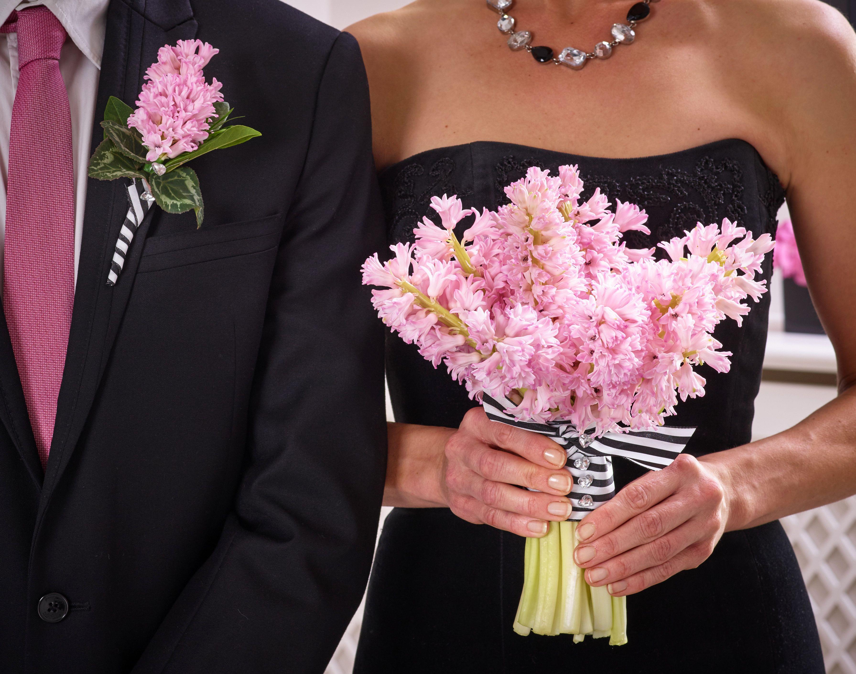 Monochrome Wedding Theme With A Pop Of Colour Hyacinths