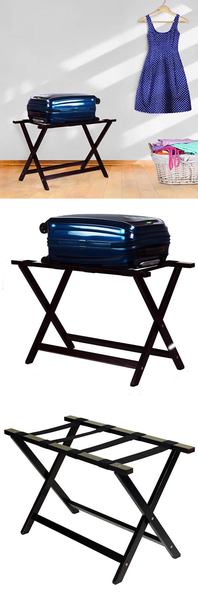 Luggage Straps 164799: Folding Luggage Rack Hotel Suitcase Stand Portable  Holder Wood Shelf Travel Bags
