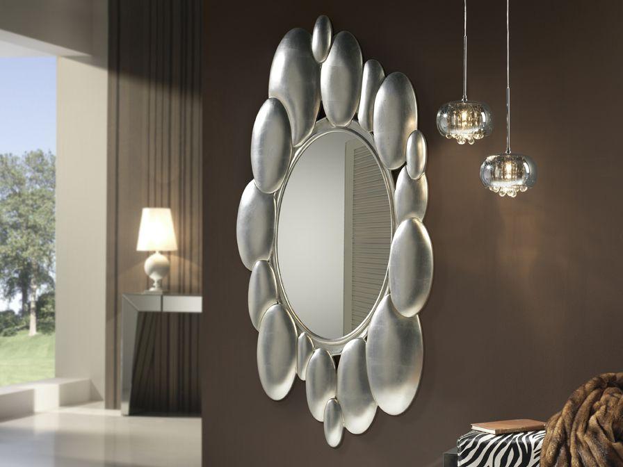 Espejo Delta Plata GrandeEspejo con marco moldeado, acabado en Pan ...