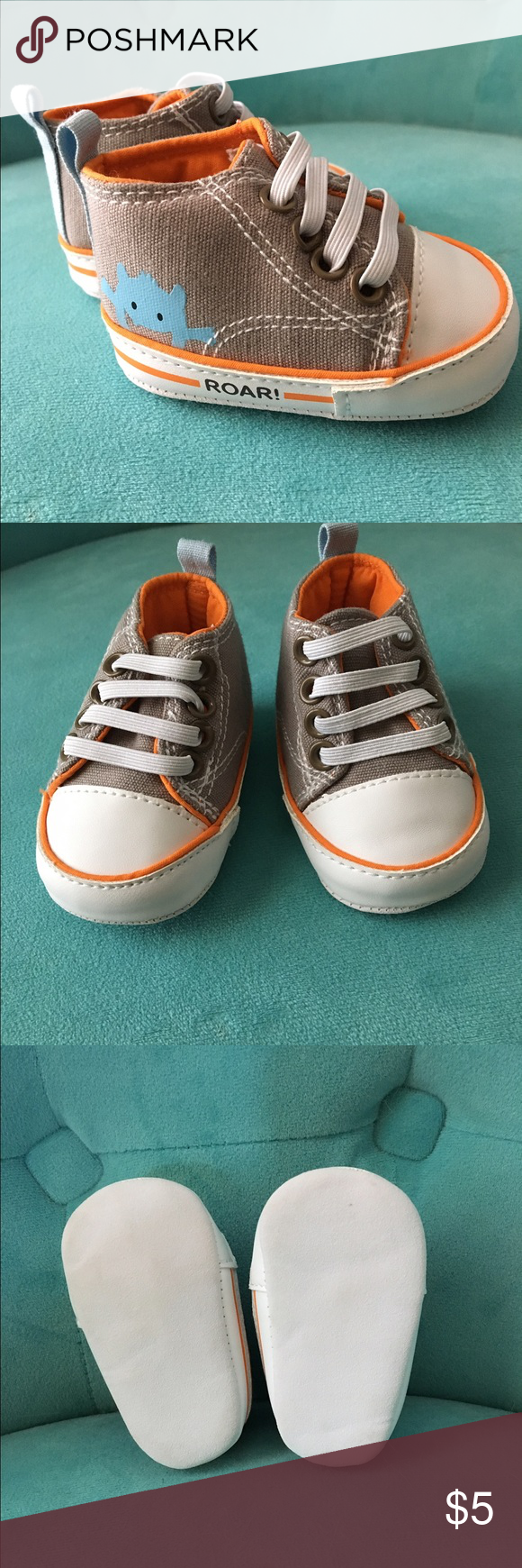 Gray Newborn Soft Bottom Sneakers - Never Worn! These adorable monster sneakers were never worn. We used them to announce our pregnancy and they've been tucked away ever since. Shoes Baby & Walker