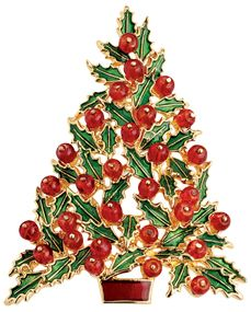 Enamel and Glass Holly Tree Pin