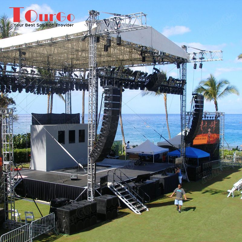 hot sale aluminum stage system with lighting aluminum truss used outdoor concert stage tourgo. Black Bedroom Furniture Sets. Home Design Ideas