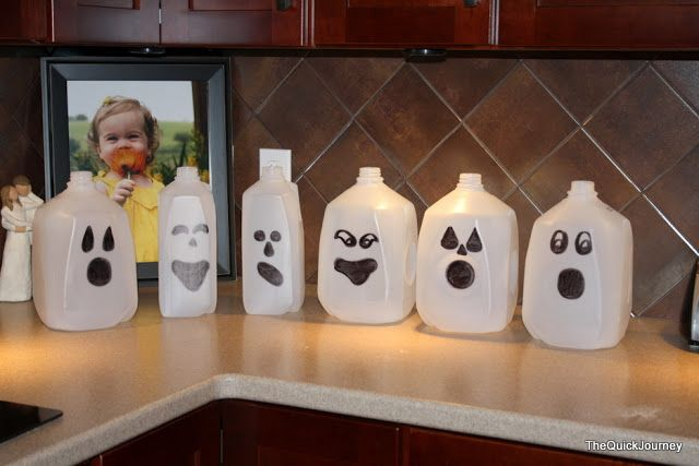 Milk Jug Ghosts Decorating ideals Pinterest Milk jug ghosts - halloween milk jug decorations