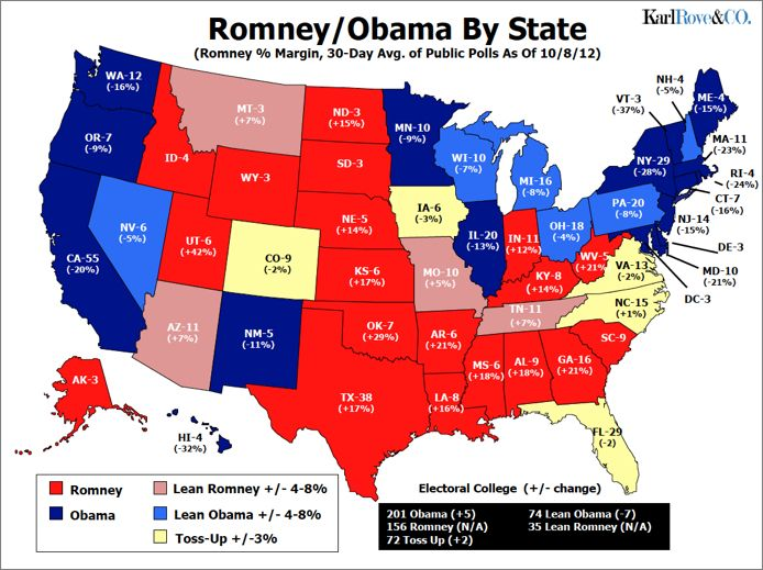 Political Map 2012 Election.2012 Electoral College Map Romney Obama By State Election 2012