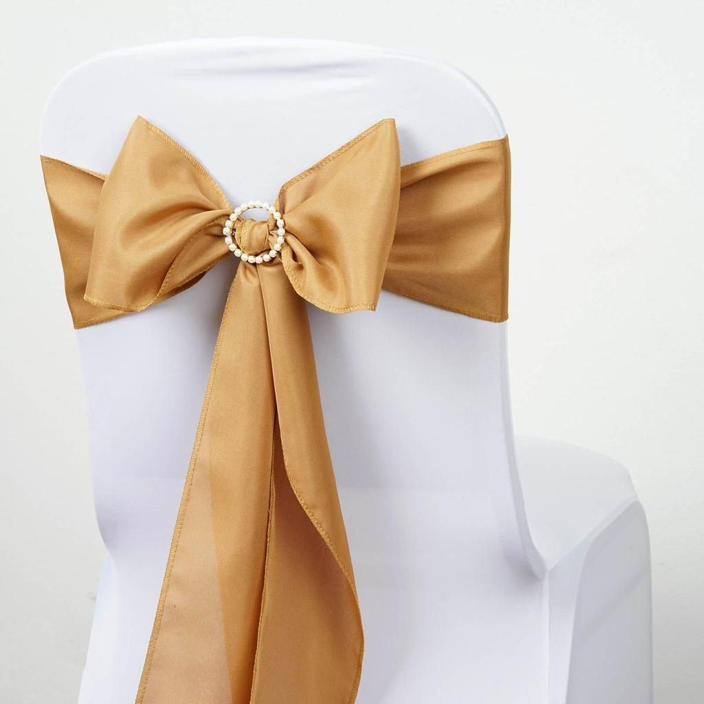 5 Pcs Gold Polyester Chair Sashes Chair Sashes Wedding Chair Sashes Gold Wedding Decorations