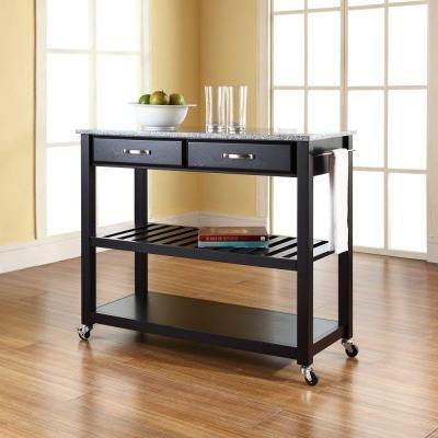 Homestyles Liberty Black Kitchen Cart With Natural Wood Top 4510 95 Kitchen Island With Granite Top Kitchen Cart Craftsman Kitchen