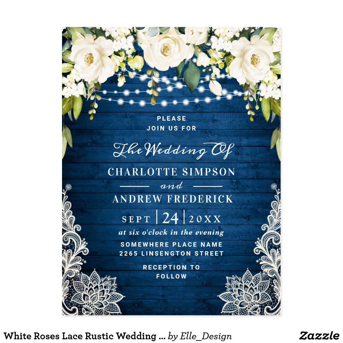 White Roses Lace Rustic Wedding Invitation Card #zazzle #zazzlemade  #customparty #partysupplies #custominvitation #invitations #customdecor #holidays #printondemand #customstationery #weddingstationery #wedding #bridalshower #invitationtemplate #partydecor #partydecorations #customgifts
