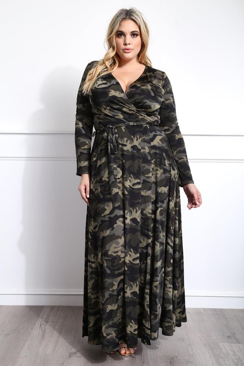Long sleeve surplice maxi dress