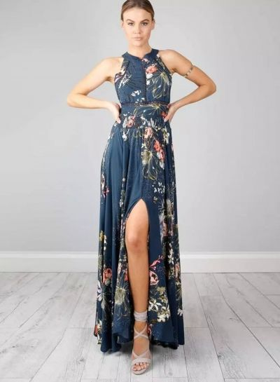 0c119441ec Women's Halter Backless Floral Print Maxi Dress | ファッション ...