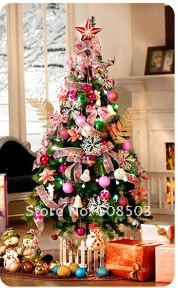 120cm Pink Christmas Tree With Decoration Pink Ball Bell Bowknot Star LED Light Fashion Christmas Tree Decoration