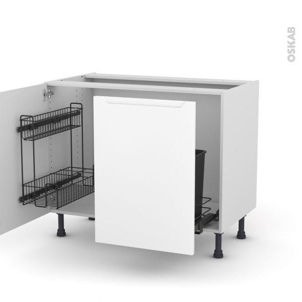 Meuble de cuisine Sous évier PIMA Blanc, 2 portes lessiviel-poubelle