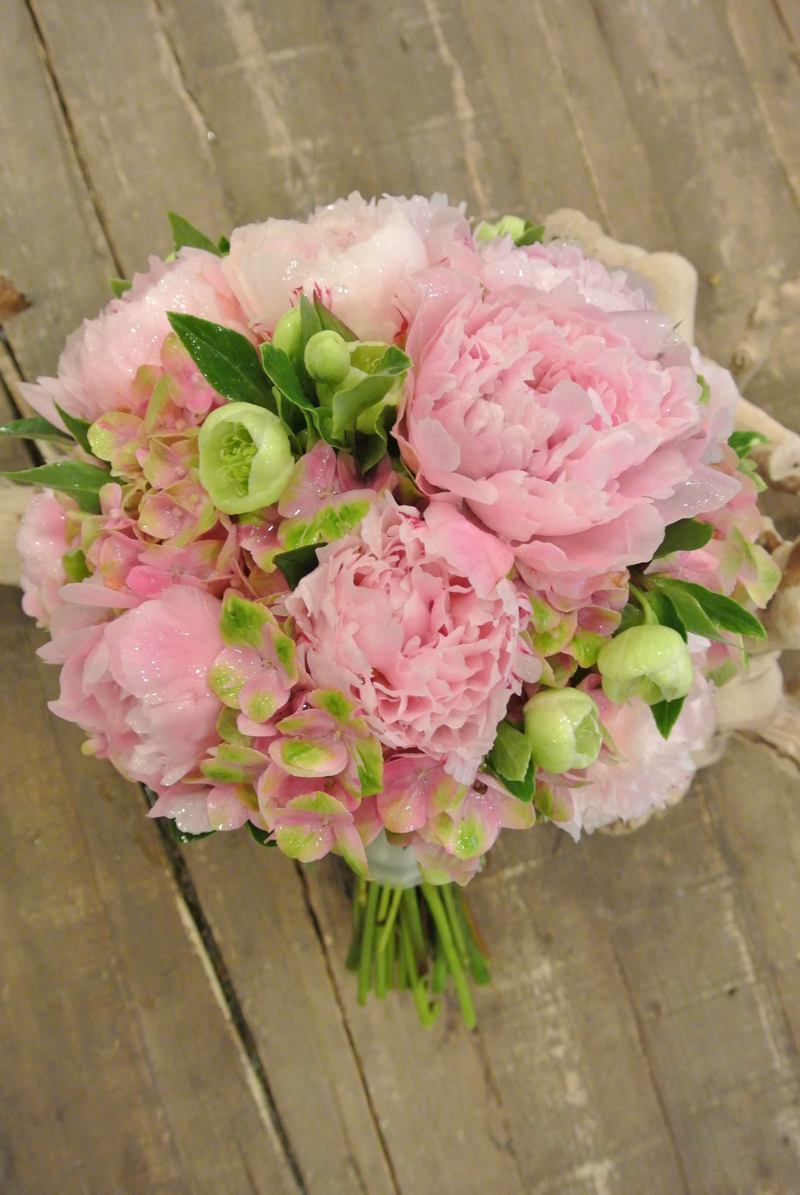 Wedding bouquets not flowers  Bridal bouquet with peonies helleborus hydrangea and eucalyptus