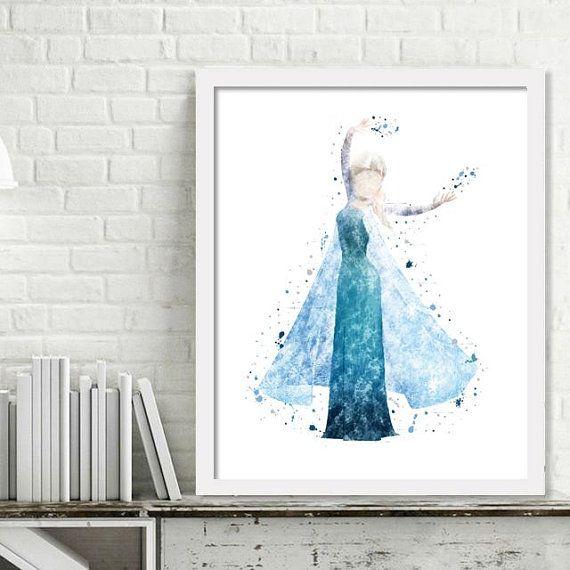 Printable frozen elsa watercolor wall art disney princess room decor also rh pinterest