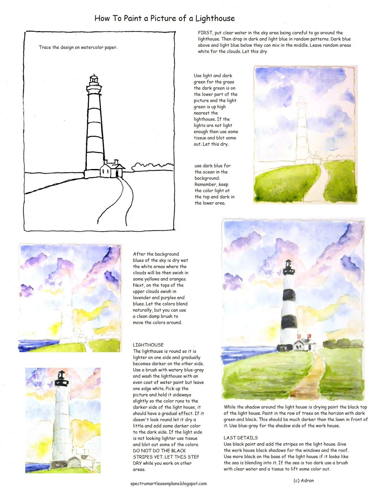 How To Paint A Picture Of A Lighthouse Worksheet For