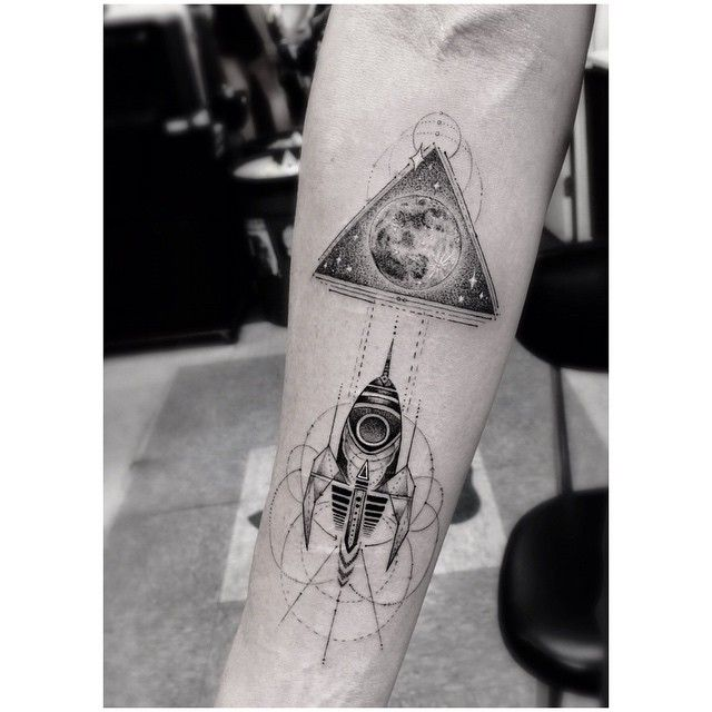 Rocket earth planet tattoo black ink galaxy space cosmos ...