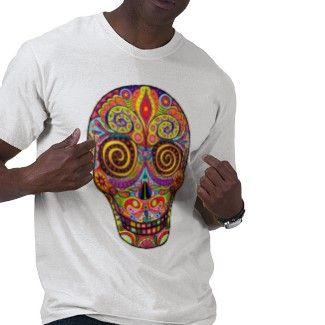 sugar skulls for men   Cool Mens T-Shirts: Sugar Skull Shirts for Men: Colorful Day of the ...