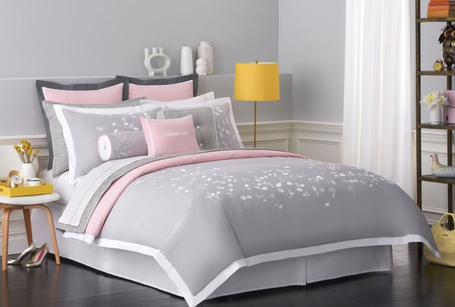 White Gray Pink Bedroom With Yellow Accent