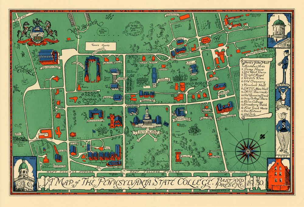 Vintage campus map | Yearbook | Campus map, Penn state ...