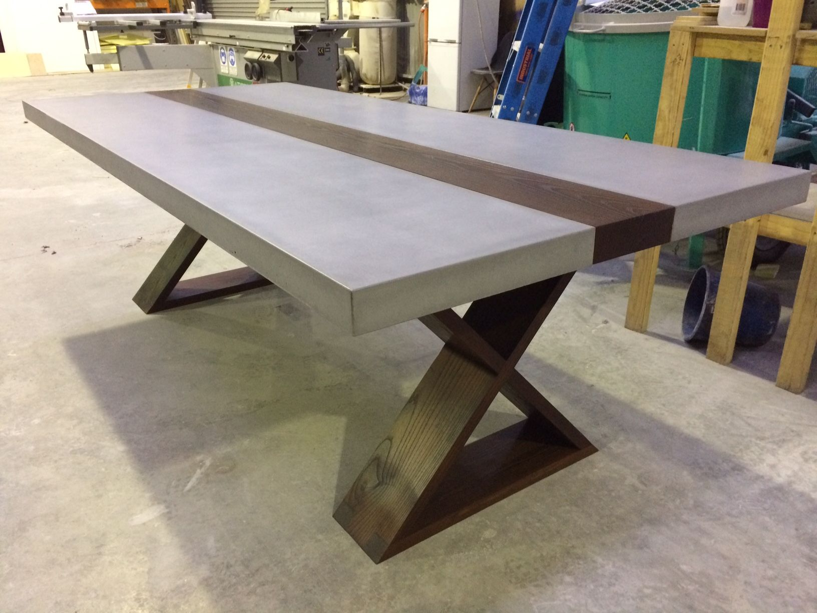 Polished Concrete Table Top With Timber Strip And Base